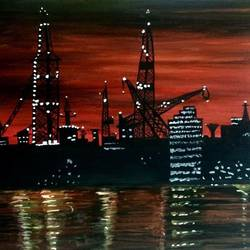 play of lights, 14 x 10 inch, subhashree pradhan,cityscape paintings,paintings for living room,thick paper,poster color,14x10inch,GAL014494055