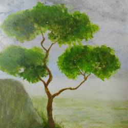 the lone tree, 8 x 12 inch, sooraj p,8x12inch,thick paper,paintings,nature paintings | scenery paintings,paintings for dining room,paintings for living room,paintings for bedroom,paintings for office,paintings for kids room,paintings for hotel,acrylic color,GAL02816340557