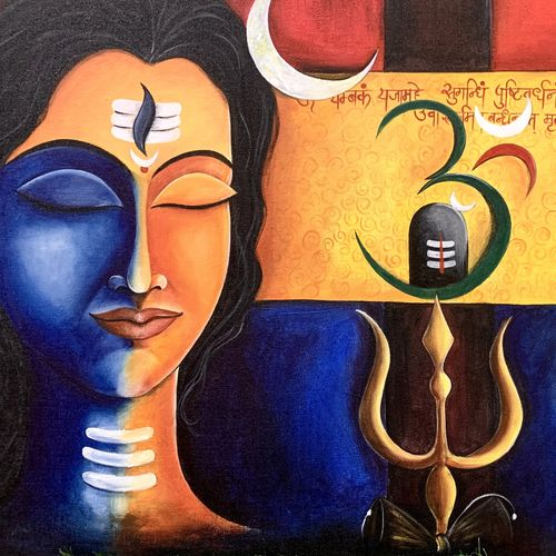 trinetra , 36 x 24 inch, dr.pragati  singh,36x24inch,canvas,paintings,religious paintings,contemporary paintings,paintings for living room,paintings for office,paintings for hotel,paintings for hospital,acrylic color,GAL02854840560