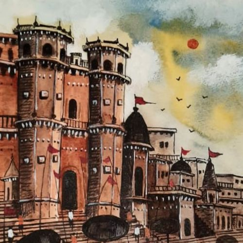 old banaras, 7 x 11 inch, girish chandra vidyaratna,7x11inch,paper,paintings,landscape paintings,modern art paintings,religious paintings,paintings for living room,acrylic color,watercolor,GAL03640565