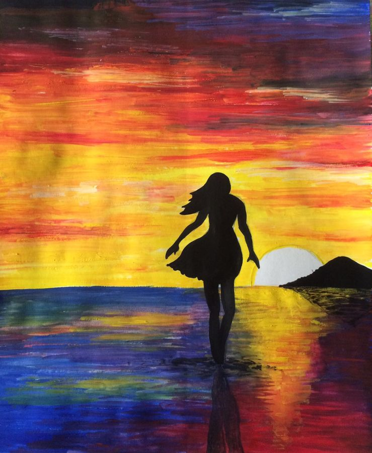 dreamy sunsets, 10 x 12 inch, subhashree pradhan,figurative paintings,paintings for living room,landscape paintings,nature paintings,thick paper,poster color,10x12inch,GAL014494057Nature,environment,Beauty,scenery,greenery