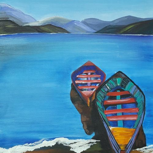 seascape painting, 24 x 16 inch, bency varghese,24x16inch,canvas,paintings,nature paintings | scenery paintings,paintings for living room,paintings for hotel,acrylic color,GAL02855740578