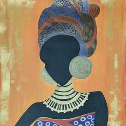 african beauty, 24 x 16 inch, bency varghese,24x16inch,canvas,paintings,folk art paintings,paintings for dining room,paintings for living room,paintings for office,paintings for hotel,acrylic color,GAL02855740580