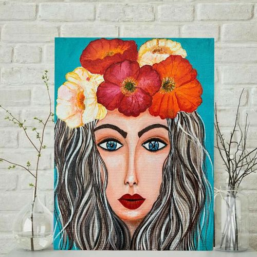 tropical charm, 14 x 18 inch, nidhi gupta,14x18inch,canvas,paintings,portrait paintings,paintings for dining room,paintings for living room,paintings for bedroom,paintings for office,paintings for bathroom,paintings for hotel,acrylic color,GAL02487940586