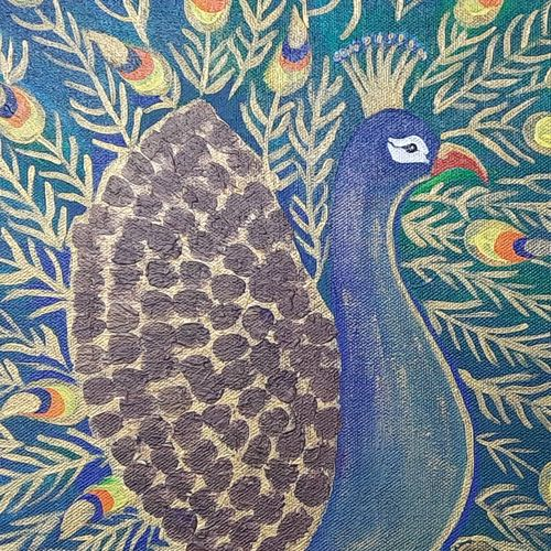 peacock with golden touch, 17 x 13 inch, bency varghese,17x13inch,canvas,paintings,abstract paintings,modern art paintings,paintings for dining room,paintings for living room,paintings for bedroom,paintings for hotel,acrylic color,GAL02855740589