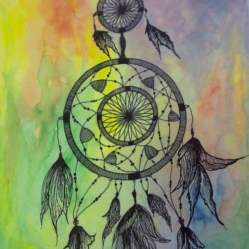 dream catcher, 12 x 10 inch, subhashree pradhan,abstract paintings,paintings for bedroom,thick paper,poster color,12x10inch,GAL014494059