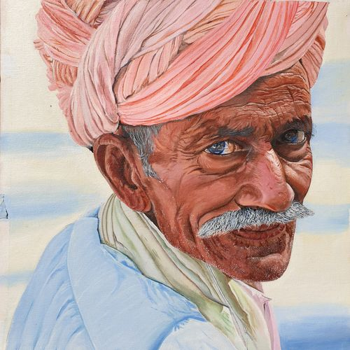 rajasthani man, 18 x 14 inch, sarabjit singh,18x14inch,canvas,photorealism paintings,paintings for living room,paintings for office,paintings for living room,paintings for office,oil color,GAL02545440597