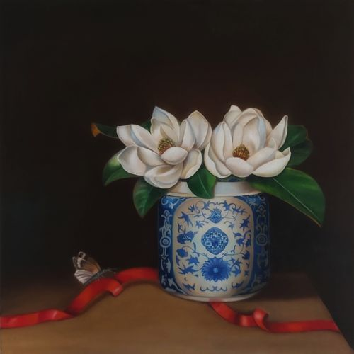 magnolia and butterfly, 20 x 20 inch, priyanka singh,20x20inch,canvas,paintings,still life paintings,paintings for dining room,paintings for living room,paintings for bedroom,oil color,GAL02872140599