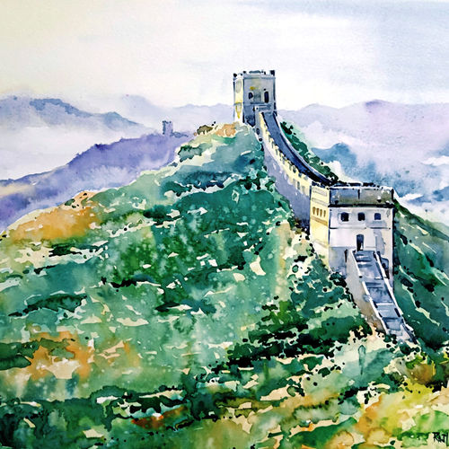the great wall., 21 x 15 inch, raji p,21x15inch,canson paper,paintings,cityscape paintings,landscape paintings,still life paintings,nature paintings | scenery paintings,paintings for dining room,paintings for living room,paintings for bedroom,paintings for office,paintings for bathroom,paintings for kids room,paintings for hotel,paintings for kitchen,paintings for school,paintings for hospital,watercolor,GAL059040605