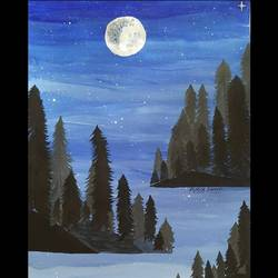 night in the forest , 11 x 15 inch, purva danke,11x15inch,thick paper,paintings,wildlife paintings,landscape paintings,modern art paintings,nature paintings | scenery paintings,paintings for dining room,paintings for living room,paintings for bedroom,paintings for office,paintings for kids room,paintings for hotel,paintings for kitchen,paintings for school,acrylic color,poster color,paper,GAL02875940608