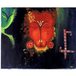 son of wind god and devotee of lord ram - hanuman the great !, 20 x 16 inch, damayanti ojha,20x16inch,canvas,paintings,abstract paintings,figurative paintings,modern art paintings,religious paintings,portrait paintings,photorealism paintings,photorealism,paintings for dining room,paintings for living room,paintings for bedroom,paintings for office,paintings for kids room,paintings for hotel,paintings for kitchen,paintings for school,paintings for hospital,acrylic color,GAL02877140620