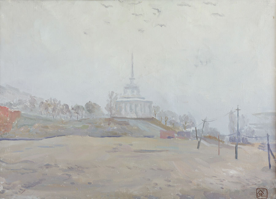 foggy day, 28 x 20 inch, moesey li,cityscape paintings,paintings for living room,canvas,oil paint,28x20inch,GAL07184063