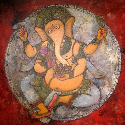 ganesha, 30 x 30 inch, nirmalendu mandal,30x30inch,canvas,paintings,ganesha paintings | lord ganesh paintings,paintings for living room,acrylic color,GAL02868740636