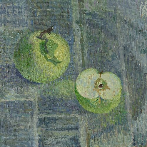 green apples, 16 x 11 inch, moesey li,still life paintings,paintings for living room,paintings for dining room,canvas,oil paint,16x11inch,GAL07184064