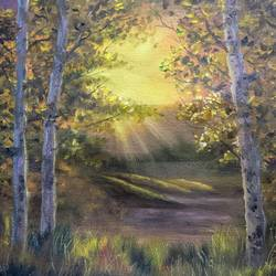 sunlight through the woods, 20 x 16 inch, krishna ghosh,20x16inch,canvas,landscape paintings,nature paintings | scenery paintings,oil color,GAL02828840658