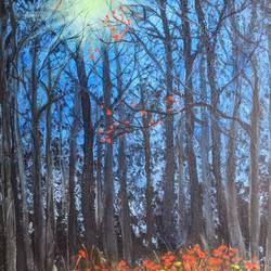 twilight forest, 20 x 16 inch, krishna ghosh,20x16inch,canvas,paintings,landscape paintings,nature paintings | scenery paintings,abstract expressionism paintings,oil color,GAL02828840659