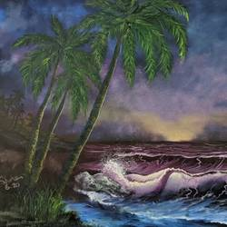 tropical sunset beach, 20 x 16 inch, krishna ghosh,20x16inch,canvas,abstract paintings,landscape paintings,nature paintings | scenery paintings,abstract expressionism paintings,contemporary paintings,oil color,GAL02828840660