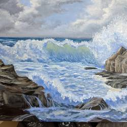 sea waves, 20 x 16 inch, krishna ghosh,20x16inch,canvas,paintings,abstract paintings,nature paintings | scenery paintings,contemporary paintings,oil color,GAL02828840661