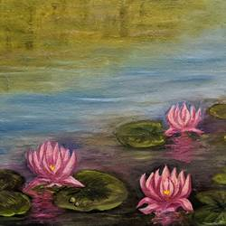water lilies, 20 x 16 inch, krishna ghosh,20x16inch,canvas,paintings,landscape paintings,nature paintings | scenery paintings,contemporary paintings,oil color,GAL02828840668