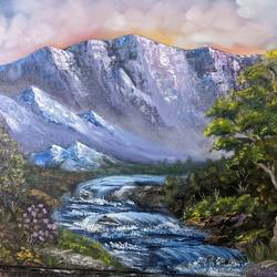 mountain waterfall view, 20 x 16 inch, krishna ghosh,20x16inch,canvas,paintings,landscape paintings,nature paintings | scenery paintings,contemporary paintings,oil color,GAL02828840669
