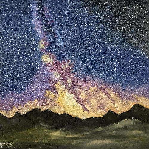 the milky way galaxy, 16 x 16 inch, krishna ghosh,16x16inch,canvas,paintings,nature paintings | scenery paintings,contemporary paintings,oil color,GAL02828840670