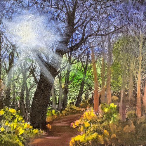 sunlight through the forest, 20 x 16 inch, krishna ghosh,20x16inch,canvas,paintings,landscape paintings,nature paintings | scenery paintings,contemporary paintings,oil color,GAL02828840671