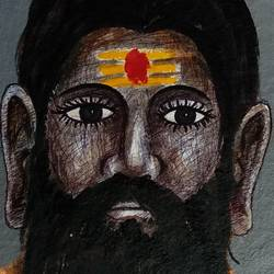 varanasi sadhu, 7 x 10 inch, girish chandra vidyaratna,figurative paintings,paintings for dining room,paintings for living room,paintings for bedroom,paintings for office,paintings for kids room,paintings for hotel,paintings for kitchen,handmade paper,watercolor,7x10inch,GAL0364068