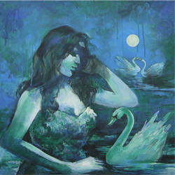 the swan lady, 24 x 24 inch, nirmalendu mandal,24x24inch,canvas,paintings,figurative paintings,paintings for living room,acrylic color,GAL02868740680
