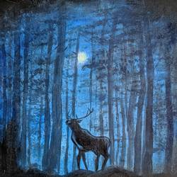 stag on a winter night, 16 x 16 inch, krishna ghosh,16x16inch,canvas,paintings,abstract paintings,conceptual paintings,nature paintings | scenery paintings,contemporary paintings,acrylic color,oil color,GAL02828840684