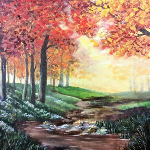 sunshine forest, 20 x 16 inch, krishna ghosh,20x16inch,canvas,paintings,abstract paintings,landscape paintings,nature paintings | scenery paintings,contemporary paintings,oil color,GAL02828840686