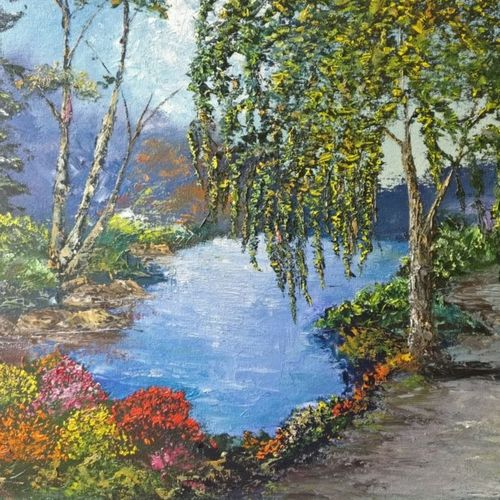 path beside the tree, 20 x 16 inch, krishna ghosh,20x16inch,canvas,paintings,abstract paintings,landscape paintings,nature paintings | scenery paintings,contemporary paintings,oil color,GAL02828840687