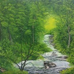 green forest, 20 x 16 inch, krishna ghosh,20x16inch,canvas,paintings,abstract paintings,landscape paintings,nature paintings | scenery paintings,contemporary paintings,oil color,GAL02828840689