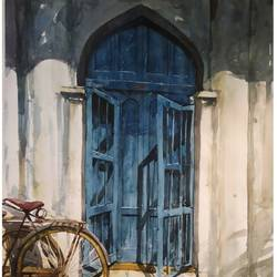 the blue door, 22 x 28 inch, soyli saha,22x28inch,cartridge paper,paintings,abstract paintings,modern art paintings,conceptual paintings,photorealism paintings,photorealism,realism paintings,contemporary paintings,realistic paintings,paintings for dining room,paintings for living room,paintings for bedroom,paintings for office,paintings for bathroom,paintings for kids room,paintings for hotel,paintings for kitchen,paintings for school,paintings for hospital,watercolor,GAL0606540691