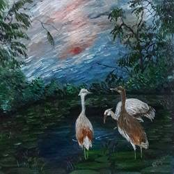 herons, 8 x 7 inch, rambling tiger,impressionist paintings,paintings for living room,animal paintings,canvas,oil paint,8x7inch,GAL08864070
