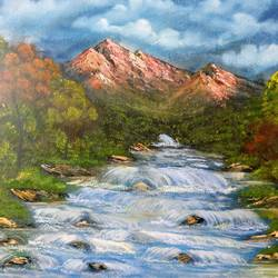 waterfall, 20 x 16 inch, krishna ghosh,20x16inch,canvas,paintings,abstract paintings,landscape paintings,modern art paintings,nature paintings | scenery paintings,contemporary paintings,oil color,GAL02828840700