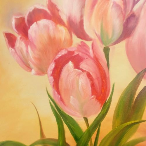 enticing tulips, 20 x 16 inch, krishna ghosh,20x16inch,canvas,paintings,flower paintings,contemporary paintings,oil color,GAL02828840701