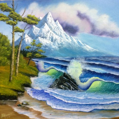 mountain seascape, 20 x 16 inch, krishna ghosh,20x16inch,canvas,paintings,landscape paintings,conceptual paintings,nature paintings | scenery paintings,contemporary paintings,oil color,GAL02828840702