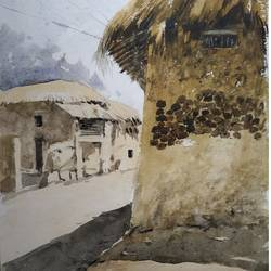 village, 13 x 22 inch, soyli saha,13x22inch,handmade paper,paintings,landscape paintings,nature paintings | scenery paintings,realism paintings,contemporary paintings,realistic paintings,paintings for dining room,paintings for living room,paintings for bedroom,paintings for office,paintings for bathroom,paintings for kids room,paintings for hotel,paintings for kitchen,paintings for school,paintings for hospital,watercolor,GAL0606540705