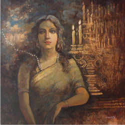 flickering esperance, 36 x 36 inch, nirmalendu mandal,36x36inch,canvas,paintings,figurative paintings,paintings for hotel,acrylic color,GAL02868740707
