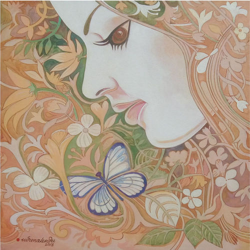 the butterfly , 20 x 22 inch, nirmalendu mandal,20x22inch,canvas,paintings,figurative paintings,flower paintings,paintings for living room,paintings for bedroom,paintings for office,paintings for hotel,acrylic color,GAL02868740708