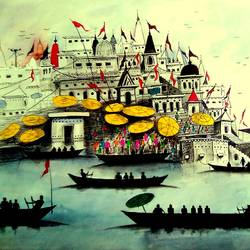 varanasi ghat - 2017, 18 x 14 inch, girish chandra vidyaratna,paintings for bedroom,cityscape paintings,paper,mixed media,18x14inch,GAL0364071