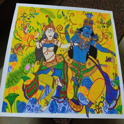 kerala mural art, 22 x 28 inch, ruchi sharad,22x28inch,thick paper,paintings,folk art paintings,kerala murals painting,paintings for dining room,paintings for living room,paintings for bedroom,paintings for office,paintings for kids room,paintings for hotel,paintings for kitchen,paintings for school,paintings for hospital,acrylic color,fabric,pastel color,pen color,watercolor,paper,GAL02500240712
