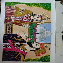 mughal painting, 14 x 22 inch, ruchi sharad,14x22inch,thick paper,paintings,folk art paintings,miniature painting.,paintings for dining room,paintings for living room,paintings for bedroom,paintings for office,paintings for kids room,paintings for hotel,paintings for kitchen,paintings for school,paintings for hospital,acrylic color,pastel color,watercolor,paper,GAL02500240713