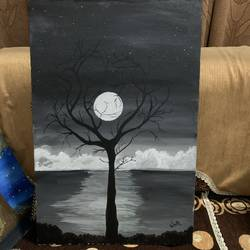 moon in the dark night, 18 x 24 inch, soul  art,18x24inch,canvas,paintings,modern art paintings,abstract expressionism paintings,surrealism paintings,paintings for dining room,paintings for living room,paintings for bedroom,paintings for hotel,acrylic color,GAL02881140715