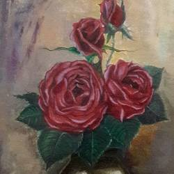 still life: roses in a vase, 8 x 13 inch, rambling tiger,still life paintings,paintings for bedroom,flower paintings,canvas,oil paint,8x13inch,GAL08864072