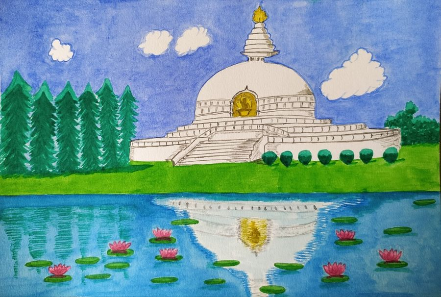 world peace pagoda, 14 x 21 inch, ananya palchoudhury,14x21inch,brustro watercolor paper,paintings,religious paintings,watercolor,GAL02881040720