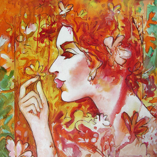 to spring with love, 20 x 24 inch, nirmalendu mandal,20x24inch,canvas,paintings,figurative paintings,paintings for living room,paintings for bedroom,paintings for office,paintings for hotel,paintings for living room,paintings for bedroom,paintings for office,paintings for hotel,acrylic color,GAL02868740723