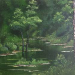 green forest swamp, 20 x 16 inch, krishna ghosh,20x16inch,canvas,paintings,landscape paintings,nature paintings | scenery paintings,contemporary paintings,oil color,GAL02828840726
