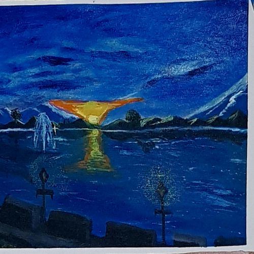 dal lake at twilight , 24 x 18 inch, khurshid bhat,24x18inch,canvas,landscape paintings,conceptual paintings,nature paintings   scenery paintings,acrylic color,oil color,GAL02840140729