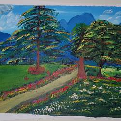 mughal gardens the onset of autman, 24 x 18 inch, khurshid bhat,24x18inch,canvas,paintings,landscape paintings,conceptual paintings,nature paintings | scenery paintings,acrylic color,GAL02840140730
